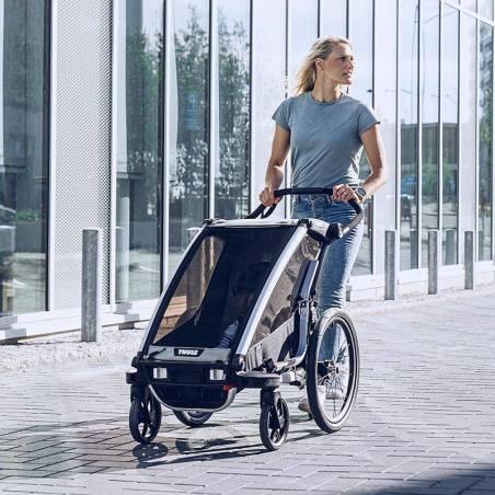 Balade en ville avec la remorque vélo Lite 1 Thule en mode poussette - YGGOR