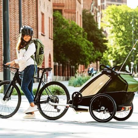 Balade en ville avec la remorque vélo CAB 2 Thule - YGGOR