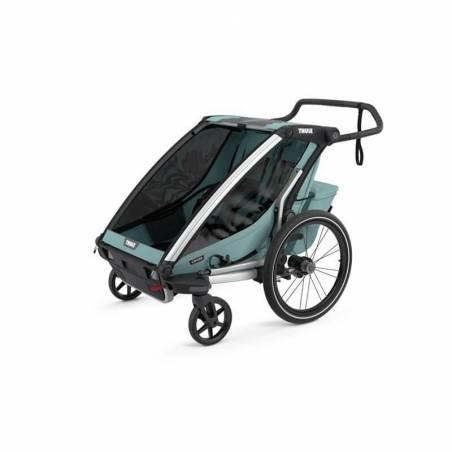 Vos enfants de 1 à 10 mois vous accompagneront dans vos balades à vélo grâce au packhamac comprenant la remorque vélo Chariot Cross 2nouveau modèle 2021 et un hamac.