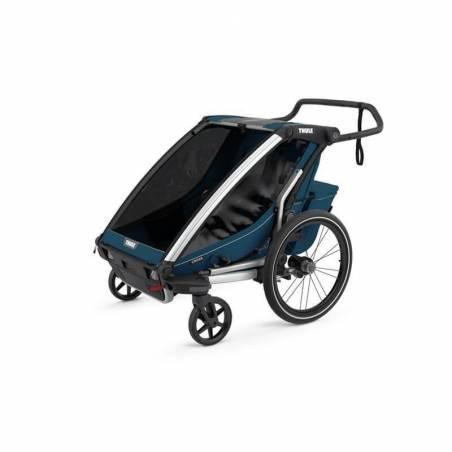 Remorque vélo Thule Cross 2 bleu majolique en mode poussette - YGGOR