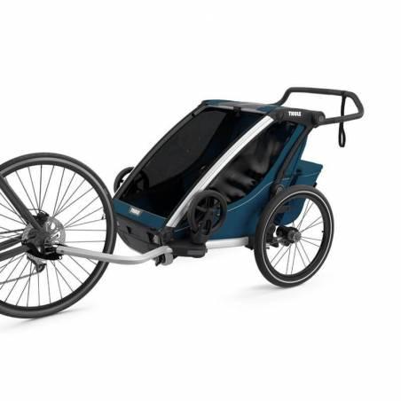 Remorque Thule Cross 2 bleu majolique attaché au vélo - YGGOR