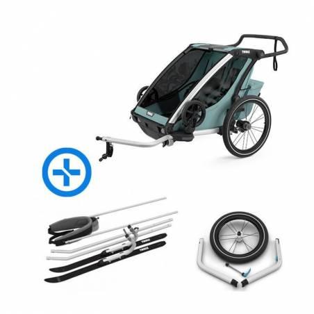 Pack complet pour famille de baroudeurs : la remorque vélo Chariot Cross 2 (nouveau modèle 2021) + kit ski + kit jogging.