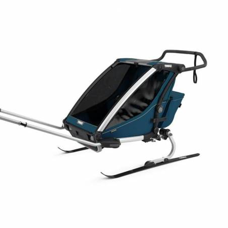 La remorque vélo Chariot Cross 2 nouveau modèle + le kit ski +1 duvet = de belles journées au ski avec les enfants en perspective !