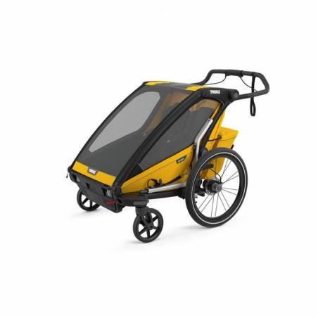 Remorque vélo Thule sport 2 jaune en mode poussette - YGGOR