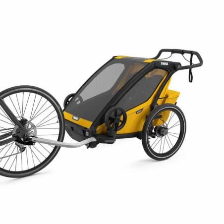 Remorque Thule sport 2 jaune attachée au vélo  - YGGOR