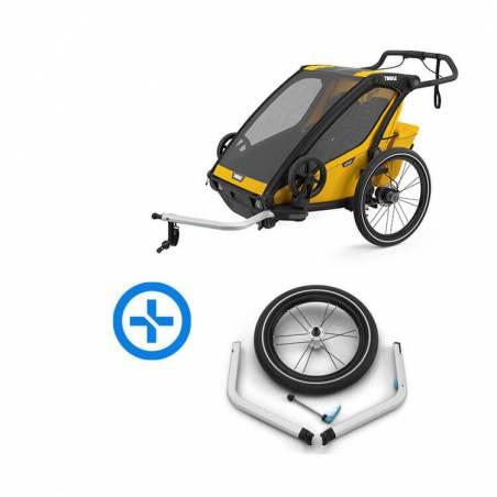 Emmenez vos 2 enfants faire du vélo ou du jogging avec vous grâce à ce pack Remorque Chariot Sport2 (nouveau modèle) et le kit jogging.