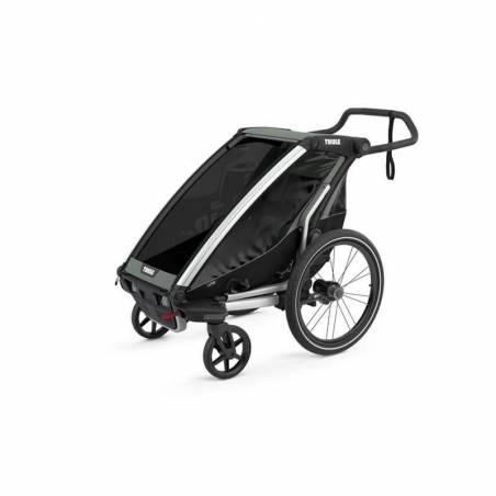 Remorque vélo Thule Lite 1 noire en mode poussette - YGGOR