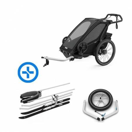 Amis sportifs, ce pack est fait pour vous : le modèle 2021 de la remorque Chariot Sport 1, les kits ski et jogging qui vous permettent de transformer votre remorque vélo en pulka de ski de fond ou en poussette de jogging haute performance.