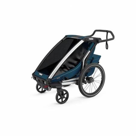 La remorque vélo Chariot Cross 1 modèle 2021 avec un hamac pour le confort de votre bébé de 1 à 10 mois.