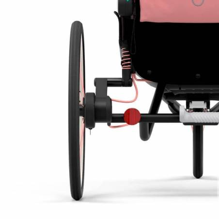 Suspensions arrières et pneus gonflés à air de la poussette sport Zeno Cybex, version Rose - YGGOR