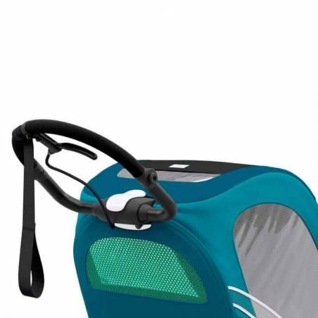 Guidon ergonomique et ajustable de la poussette sport Cybex Zeno en version bleue - YGGOR