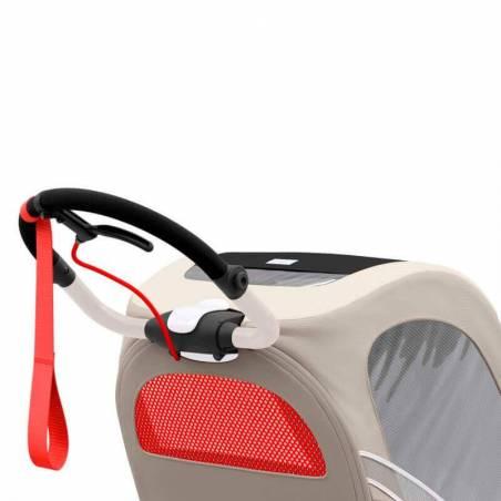 Guidon ergonomique et ajustable de la poussette sport Cybex Zeno en version beige - YGGOR