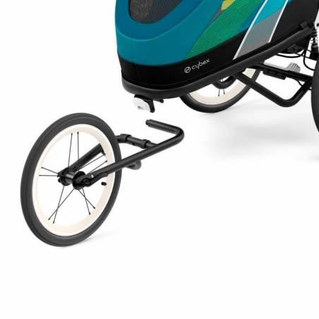 Roue avant amovible pour transformer en remorque vélo la poussette sport Cybex Zeno, en version bleue - YGGOR