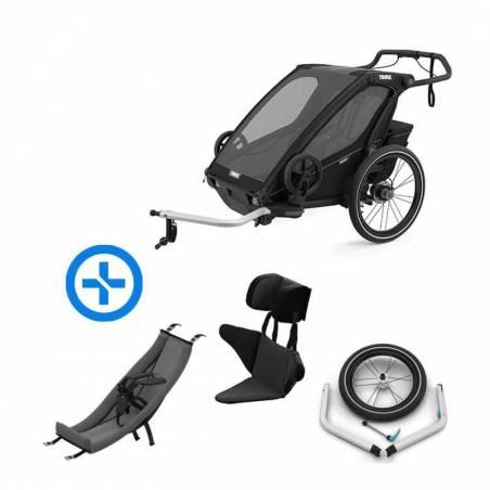 Pack YGGOR bébé sport 2 : remorque vélo Thule Sport 2 noire + hamac + support enfant
