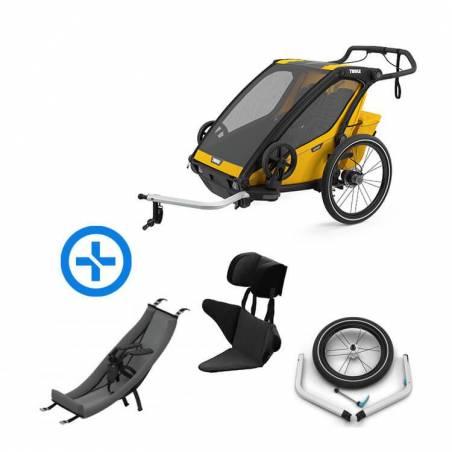Pack YGGOR bébé sport 2 : remorque vélo Thule Sport 2 jaune + hamac + support enfant