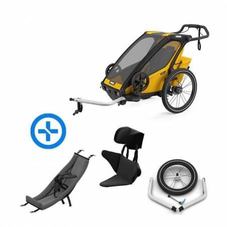Pack YGGOR bébé sport 1 : remorque vélo Thule Sport 1 noire + hamac + support enfant