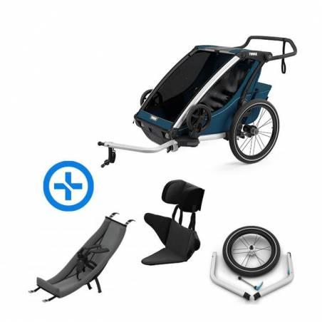 Pack YGGOR bébé cross 2 : remorque vélo Thule Cross 2 bleu majolique + hamac + support enfant + kit jogging