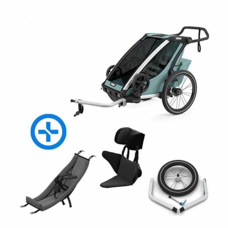 Pack YGGOR bébé cross 1 : remorque vélo Thule Cross 1 Alaska + hamac + support enfant + kit jogging